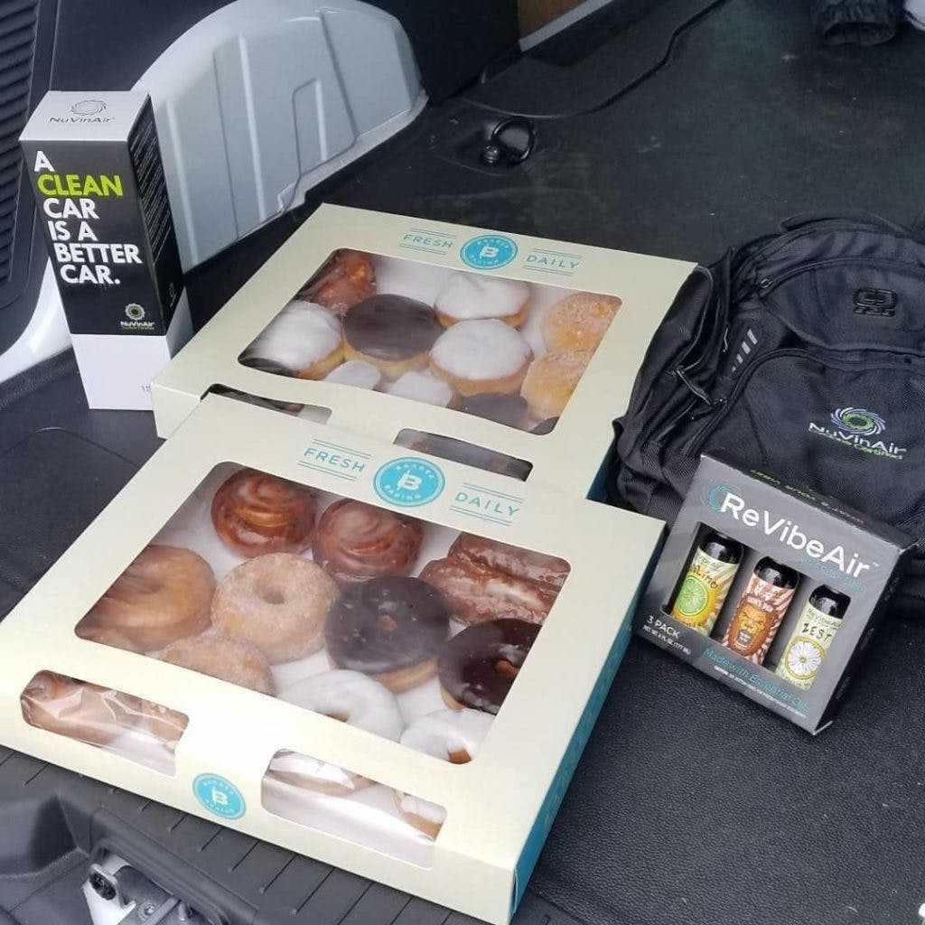 Donuts and demos. Zach Haman and his team routinely show up to dealership customers with donuts, golf balls, and other items to show their appreciation.