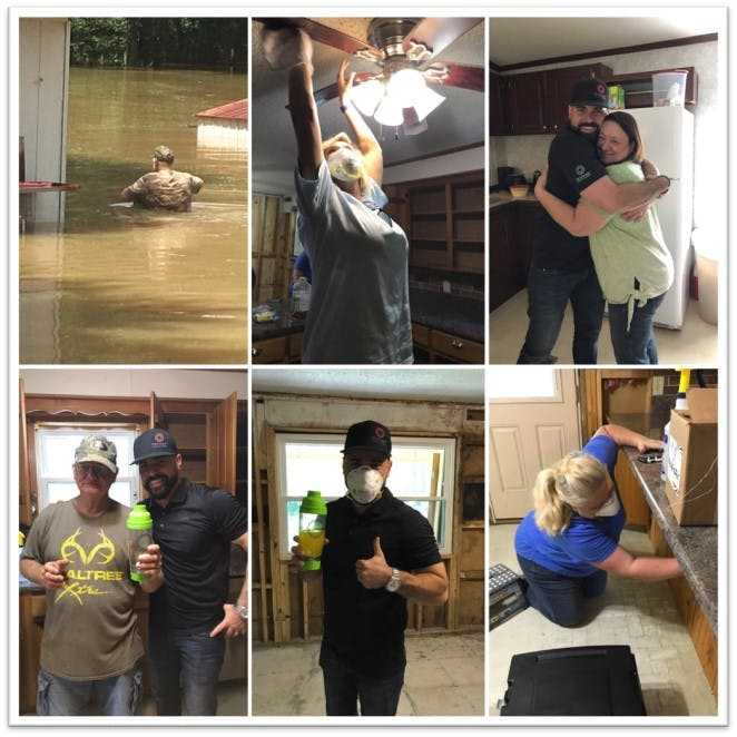 NuVinAir® CEO Kyle Bailey helping victims of Hurricane Harvey last year in Houston. #NuHopeChallenge