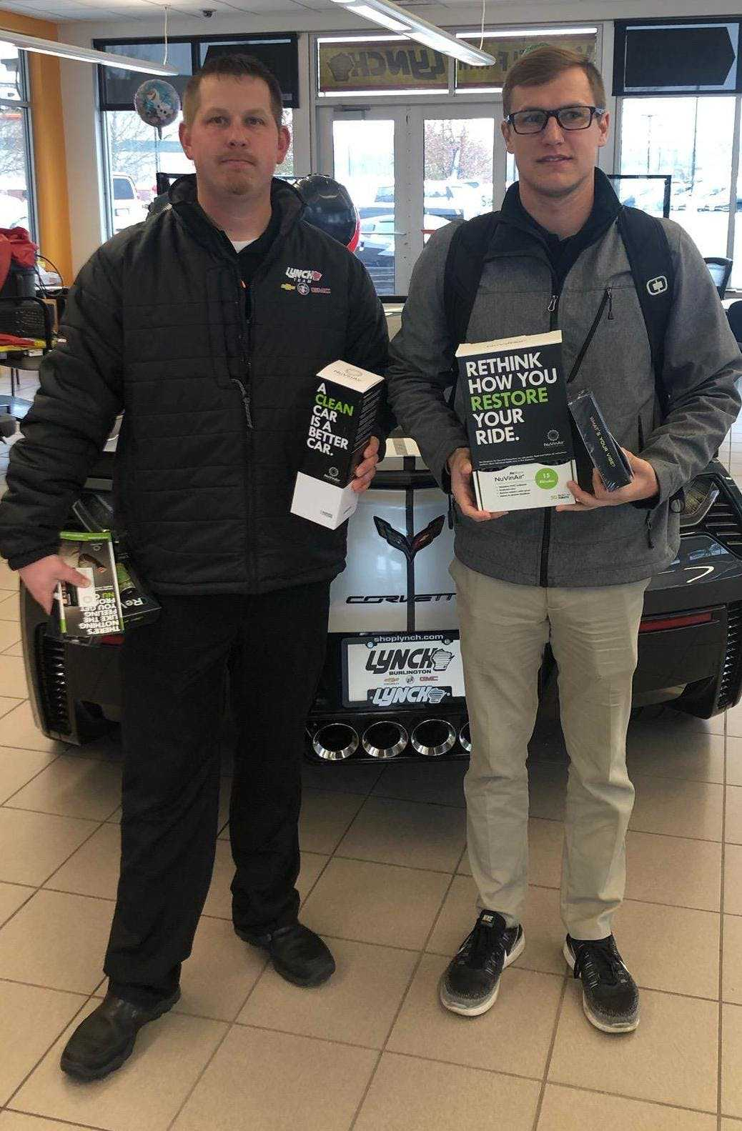 Zach Haman (right) has built his Wisconsin customer base to more than 20 dealerships within just a few months of launching his distributorship.
